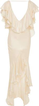 Cult Gaia Isabel Ruffled Silk-Blend Maxi Dress
