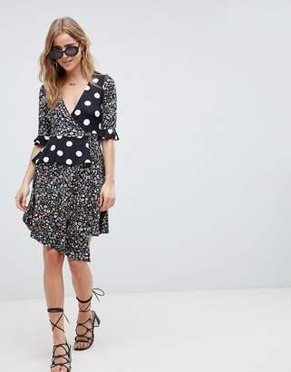 Asos Design DESIGN Wrap Dress In Mixed Print