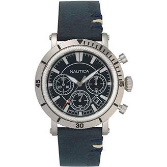 Nautica Men's 'Fairmont Chrono' Quartz Stainless Steel and Leather Casual Watch
