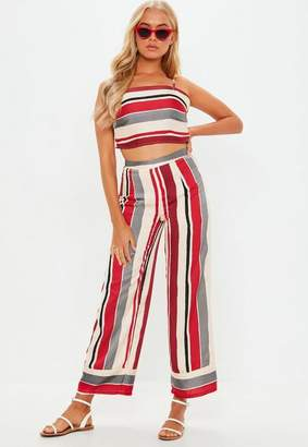 Missguided Red Stripe Print Co Ord Set