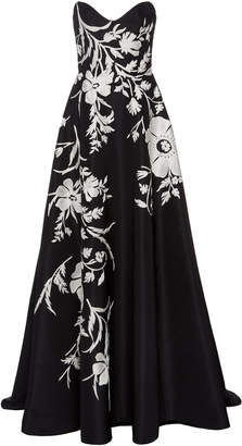 Carolina Herrera Sweetheart Embroidered Gown