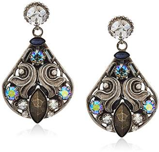 Sorrelli Core Antique Silver Tone Crystal Rock Novelty Embellished Drop Earrings