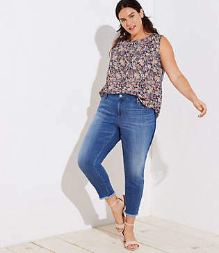 LOFT Plus Modern Step Hem Skinny Jeans in Shadow Stripe Wash