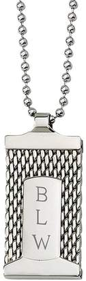 "Forza Stainless Steel Engravable Mesh Pendant and 24"" Chain"
