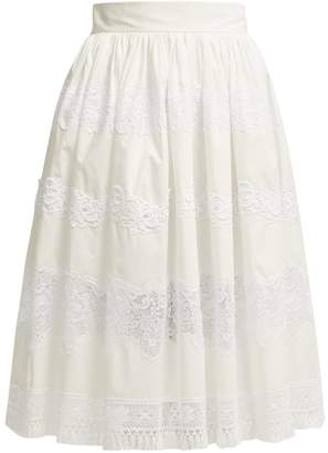 Dolce & Gabbana Lace Trimmed Cotton Blend Midi Skirt - Womens - White