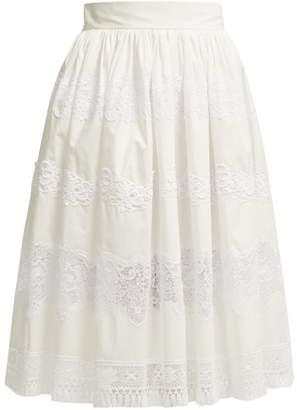 cac683b17f5b Dolce   Gabbana Lace Trimmed Cotton Blend Midi Skirt - Womens - White