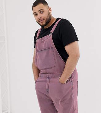 Asos Design DESIGN Plus denim dungaree shorts in pink acid wash