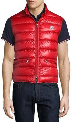 Moncler Gui Nylon Puffer Vest, Red $550 thestylecure.com