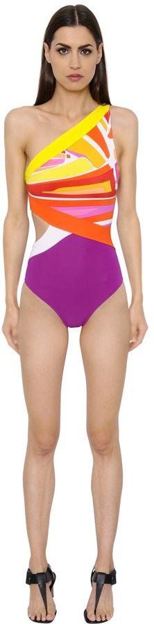 Emilio PucciOne Shoulder Printed Swimsuit