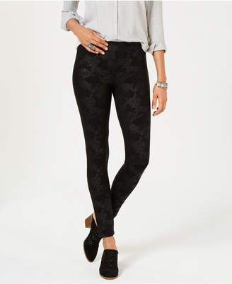 Style&Co. Style & Co Coated Ponté Knit Patterned Leggings, Created for Macy's