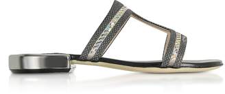 Rodo Black Suede and Lurex Flat Sandals w/Crystals