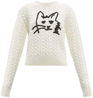 MSGM Graffiti Cat Print Wool Blend Cable Knit Sweater - Womens - Ivory