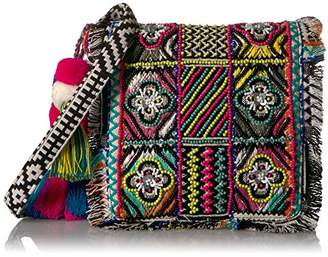Steve Madden Womens Handbag Alexa Multi Colored Beaded Tribal Geometric Bohemian Embroidered Boho Fabric Clutch Crossbody