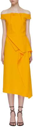 Roland Mouret 'Arch' asymmetric folded panel off-shoulder midi dress