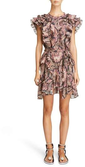 Paisley Print Ruffle Trim Dress