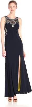 Betsy & Adam Women's Bead Illusion Gown, Black/Red
