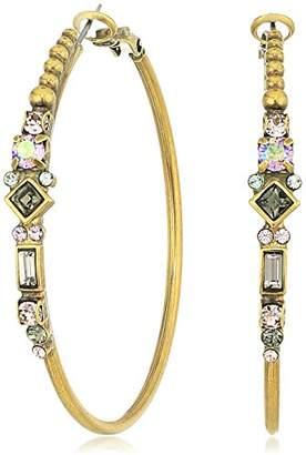 Sorrelli Womens Moonlit Shores Crystal Adorned Hoop Earrings