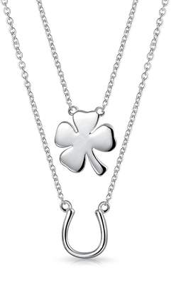Bling Jewelry Bling Jewelery Multilayer Lucky Horseshoe Clover Pendant Sterling Silver Necklace Set 16 Inches