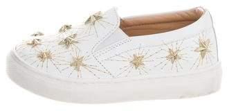 Aquazzura Mini Girls' Embellished Leather Shoes