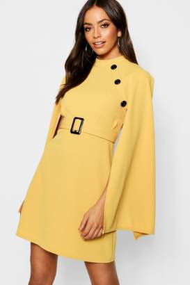 boohoo Funnel Neck Button Belted Cape Sleeve Dress