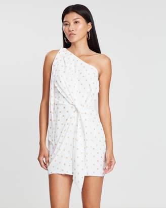 Shona Joy Tie Front One Shoulder Mini Dress