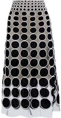 Oscar de la Renta Appliqued Tulle Midi Skirt