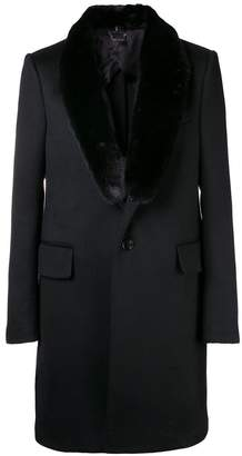 Versace mink fur-trimmed coat