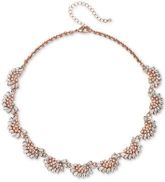 "Badgley Mischka Rose Gold-Tone Crystal & Imitation Pearl Collar Necklace, 16"" + 3"" extender"