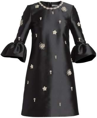 Erdem Beaded Satin Bell-Sleeve Dress