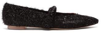Simone Rocha Bead Embellished Tartan Flats - Womens - Black Red