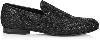 Jimmy Choo SLOANE Black Coarse Glitter Fabric Slippers
