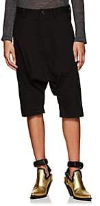 Yohji Yamamoto Regulation Women's Denim Drop-Rise Crop Harem Pants - Black