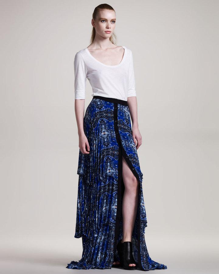 ALC Eden Printed Silk Maxi Skirt