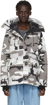 Canada Goose Grey Black Label Camo Down Rideau Parka