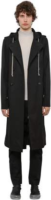 Rick Owens DOUBLE BREAST CANVAS TRENCH COAT W/HOOD