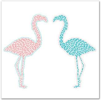 Flamingos Harriet Bee 'Pink and Blue Flamingos' Acrylic Painting Print on Canvas