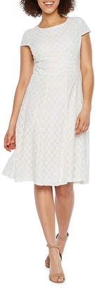 Studio 1 Short Sleeve Lace Fit & Flare Dress