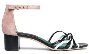 Diane von Furstenberg Fonseca Knotted Leather And Suede Sandals