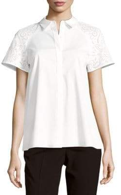 Lafayette 148 New York Ingrid Solid Button-Front Top
