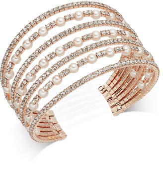 INC International Concepts I.n.c. Rose Gold-Tone Pearl & Pave Multi-Row Cuff Bracelet, Created for Macy's