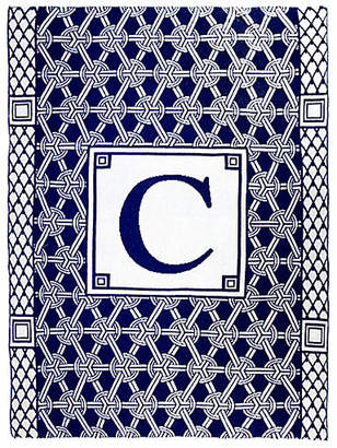 One Kings Lane Caskata Monogram Geometric Cotton Throw - Navy
