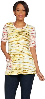 Logo By Lori Goldstein LOGO Lounge by Lori Goldstein Printed French Terry Top with Contrast Sleeve