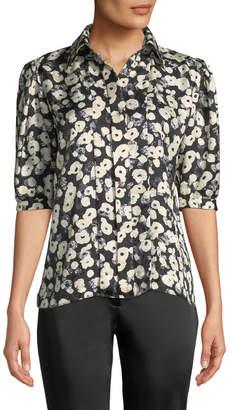 Derek Lam Short Puff-Sleeve Floral-Print Silk Shirt