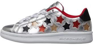 Skechers Girls Omne Lil Star Side Trainers Silver Metallic