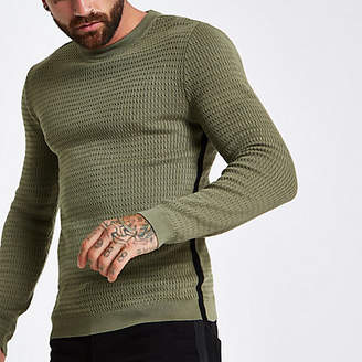 River Island Dark green cable long sleeve tape side sweater