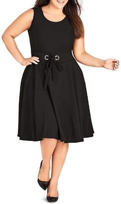 City Chic Plus Sleeveless Tie-Belt Dress