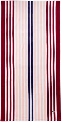 Lacoste Pink Vertical Stripe Beach Towel