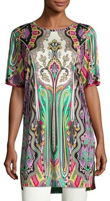 Etro Paisley Half-Sleeve Long Tunic, Purple/Green/Red $945 thestylecure.com