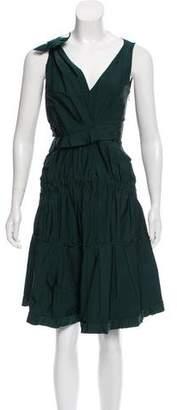 Nina Ricci Silk- Trimmed V-Neck Dress