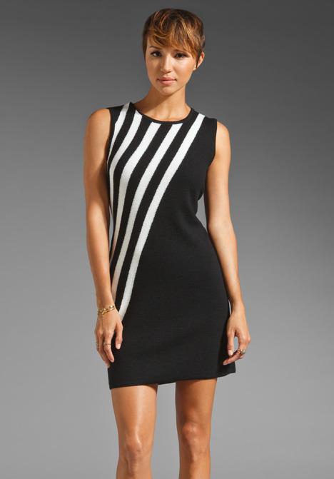 Milly Sleeveless Diagonal Dress in Black/Winter White